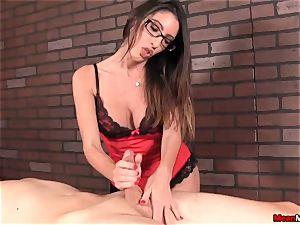 dark-haired massagist rubs clients trunk Accidentally