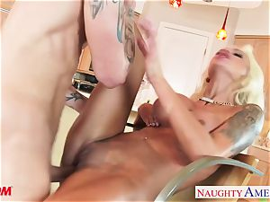 super-naughty Nina Elle gets her puss pulverized and face painted