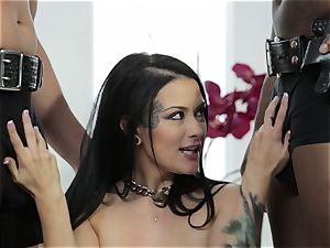 Katrina Jade gets a bi-racial labia cramming 3 way