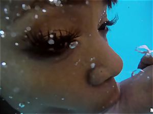 Ana Foxxx pool poke with the draped Danny Mountain