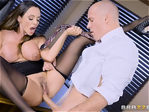 Office chesty babe Ariella Ferrera takes large chisel