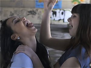 CHICAS LOCA - super-fucking-hot girl-on-girl lovemaking in an abandoned place