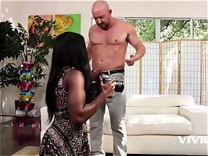 rock-hard pink cigar opening up Ana Foxxx twat Open