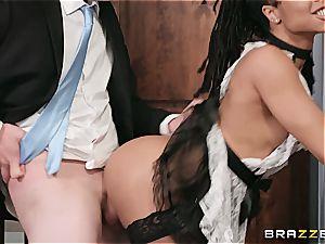 torrid dark-hued maid nearly get caught