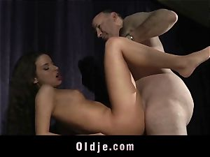 cock-squeezing jaw-dropping nubile beaver boinked By old step-father