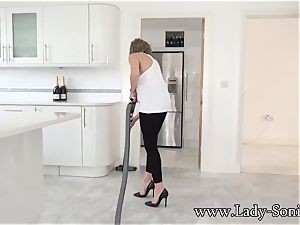 immense melon mature lady Sonia cleaning and nip torment