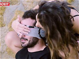 LETSDOEIT - porn industry stars pummel a fortunate boy at the Beach