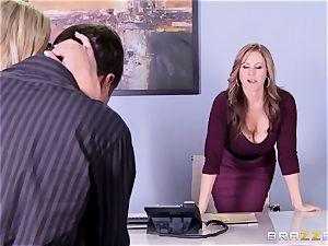 Julia Ann and Olivia Austin poke the manager together