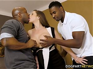 ass fucking paramour Cathy Heaven's Interview Turns interracial double penetration