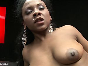 rough Kathia Nobili shoves her rope on fuck-stick deep down her counterpart mouth