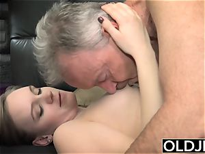 Her young twat Gets ravaged elderly fellow an Gets jism On fun bags