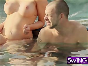 super-fucking-hot wives get together by the super-hot bath to have fun around with the men