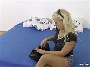 whorey ash-blonde Lana Rhoades torn up