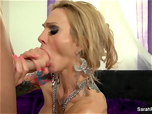Sarah gives a point of view bj in green fishnets