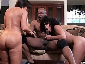 Lisa Ann and Misty Stone drool over this firm trouser snake