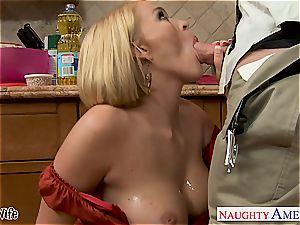 buxomy wife Krissy Lynn gobbling spunk in the kitchen