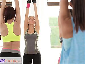 FitnessRooms Yoga damsels get creampied in a yoga class