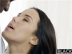 Megan Rain poking a dark-hued fuck-stick