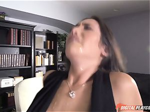 Eva Lovia licks on rock hard yam-sized trunk