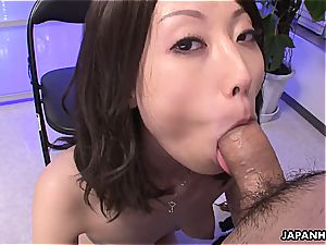 chinese stunner sucking pecker at the office