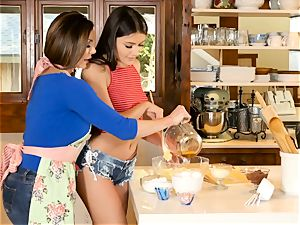 Kendra fervor and Adria Rae lesbo action in the kitchen