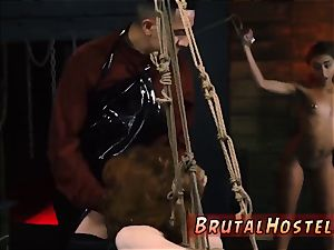 extreme romp fucktoys and ejaculation He chains up tiny dark-hued nubile Kendall and makes her watch