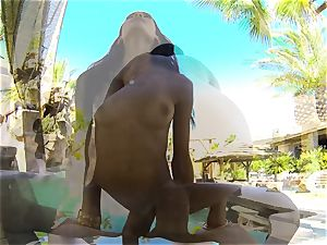 swimsuit cutie Chloe Amour pummeled after a dip in the pool