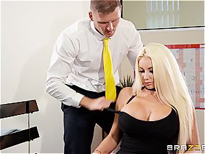 ash-blonde ditzy beauty Nicolette Shea gets an unconventional interview for a job