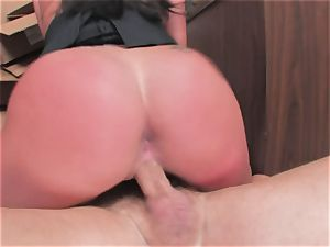 big-chested breezy Kerry Louise gets stuffed rigid and earns a fat blast of scorching cum
