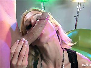 blond milf Sarah demonstrates off her dicksucking skills