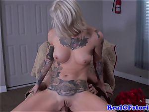 Tattood real ash-blonde mummy romped in butt