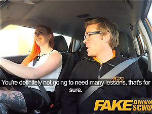 fake Driving college killer redhead lusts after ginormous weenie