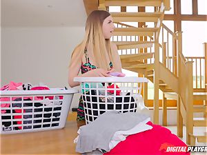 fuckbox pawing cute Eva Lovia and Stella Cox messing in the laundry