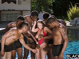 BLACKED Lena Paul first bi-racial gang-bang