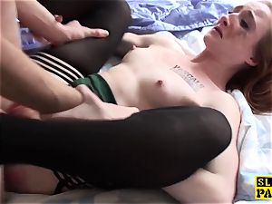 Ginger brit gimp slut predominated in tights