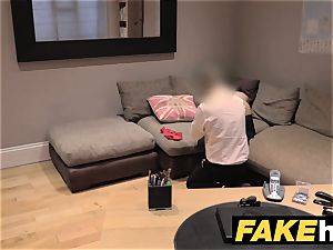 faux Agent UK Randy dark haired takes a large facial cumshot