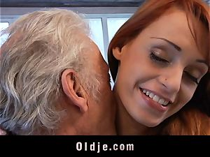 Oldman Gustavo blessed to nail marvelous Erica Fontes