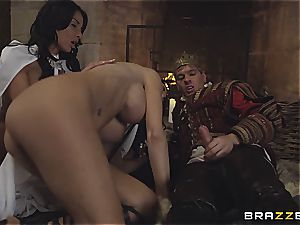Alluring Anissa Kate and Jasmine Jae serve the king's will and bone